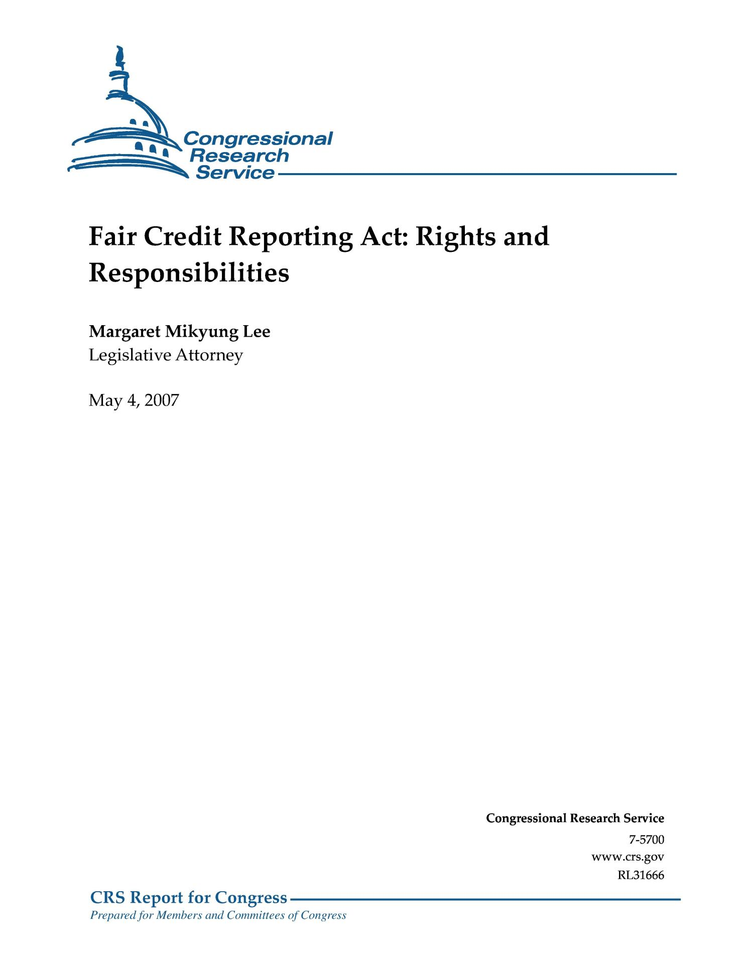 Fair Credit Reporting Act: Rights and Responsibilities                                                                                                      [Sequence #]: 1 of 13