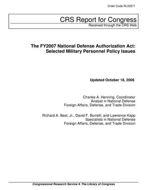 Primary view of object titled 'The FY2007 National Defense Authorization Act: Selected Military Personnel Policy Issues'.
