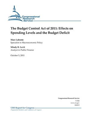 Primary view of object titled 'The Budget Control Act of 2011: Effects on Spending Levels and the Budget Deficit'.