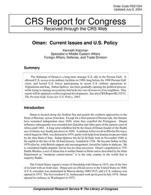 Primary view of object titled 'Oman: Current Issues and U.S. Policy'.