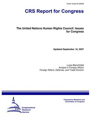 Primary view of object titled 'The United Nations Human Rights Council: Issues for Congress'.