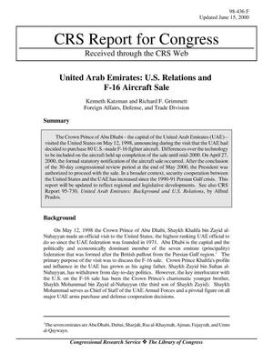 Primary view of object titled 'United Arab Emirates: U.S. Relations and F-16 Aircraft Sale'.