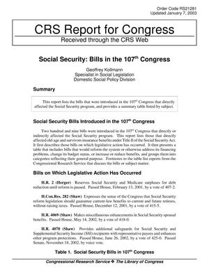 Primary view of object titled 'Social Security: Bills in the 107th Congress'.