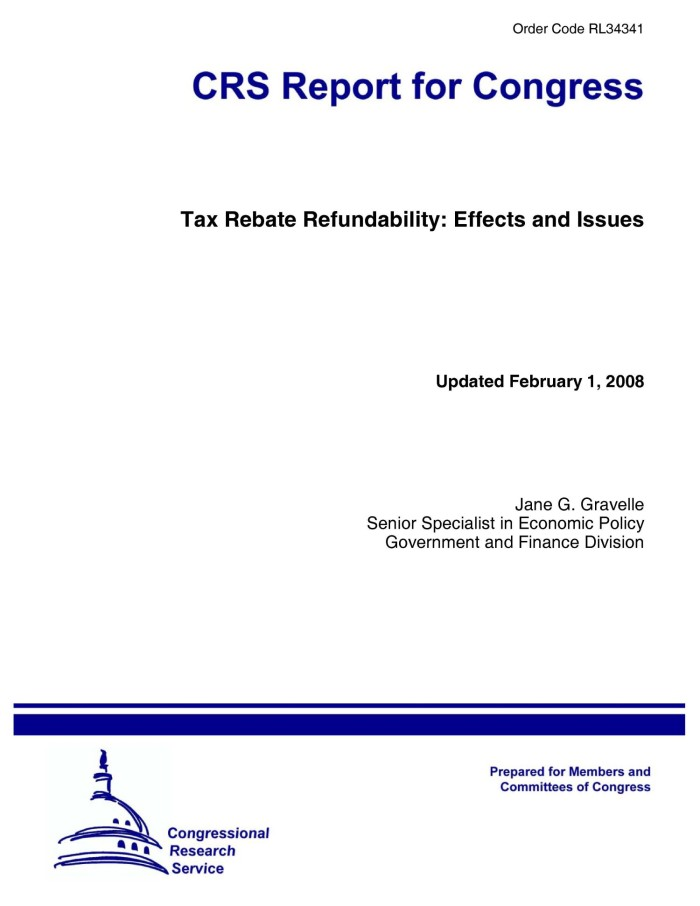 Primary View Of Object Titled Tax Rebate Refundability Effects And Issues