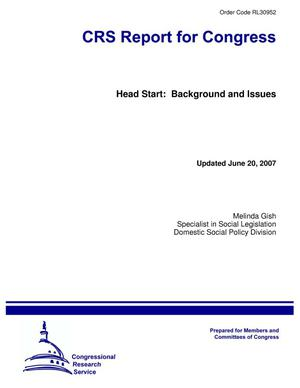 Primary view of object titled 'Head Start: Background and Issues'.
