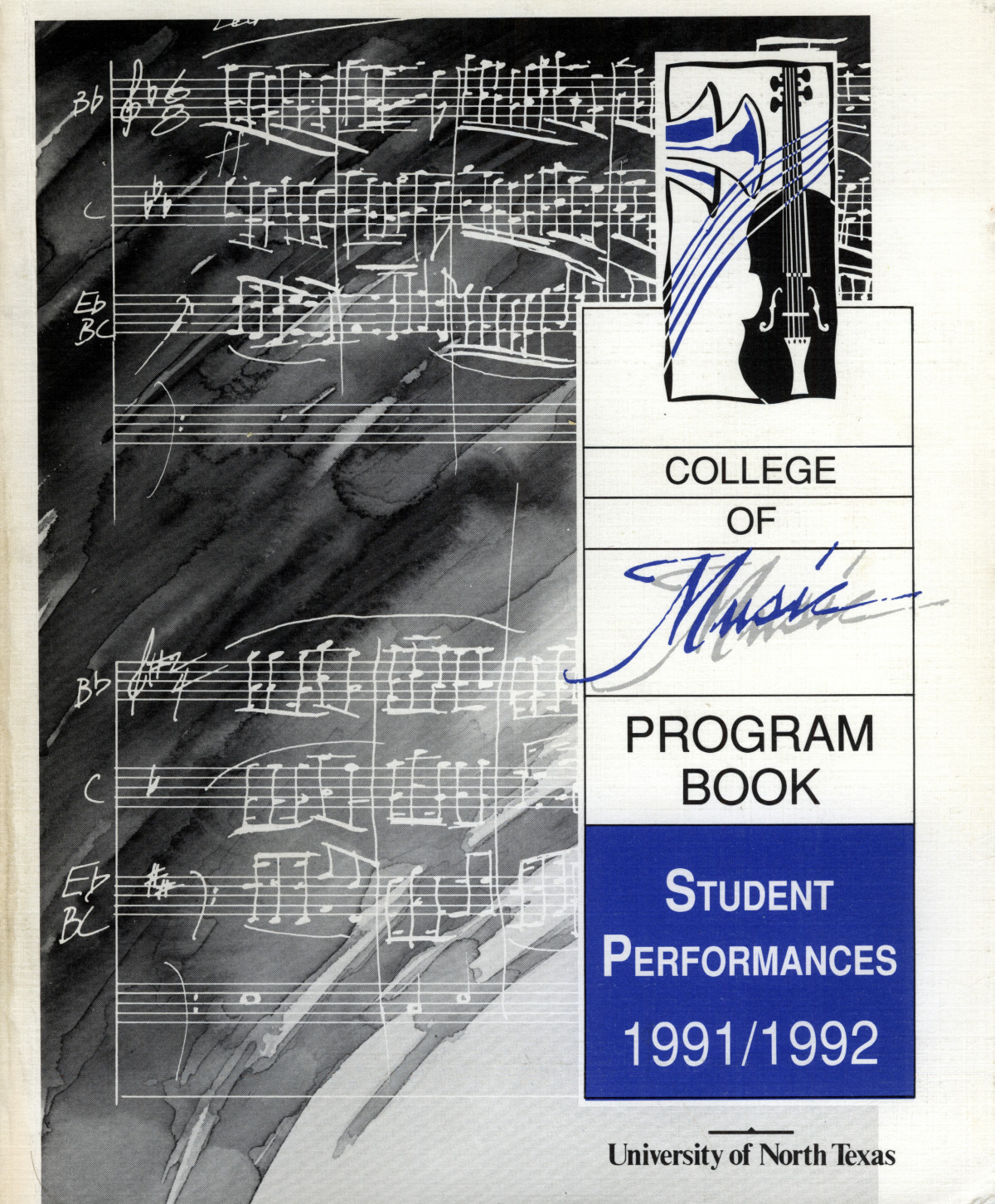 College of Music program book 1991-1992 Student Performances Vol. 2                                                                                                      [Sequence #]: 1 of 310