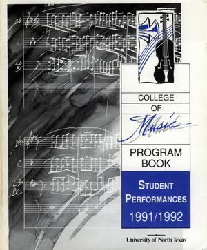 Primary view of object titled 'College of Music program book 1991-1992 Student Performances Vol. 2'.