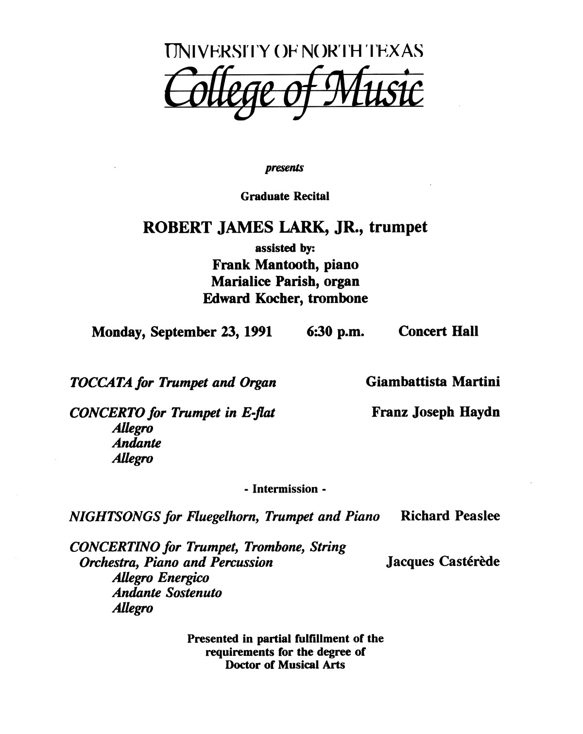 College of Music program book 1991-1992 Student Performances Vol. 2                                                                                                      [Sequence #]: 10 of 310
