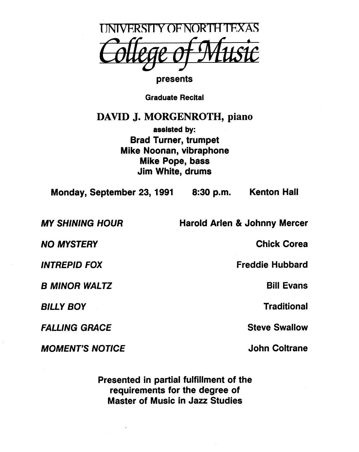 College of Music program book 1991-1992 Student Performances Vol. 2                                                                                                      [Sequence #]: 11 of 310