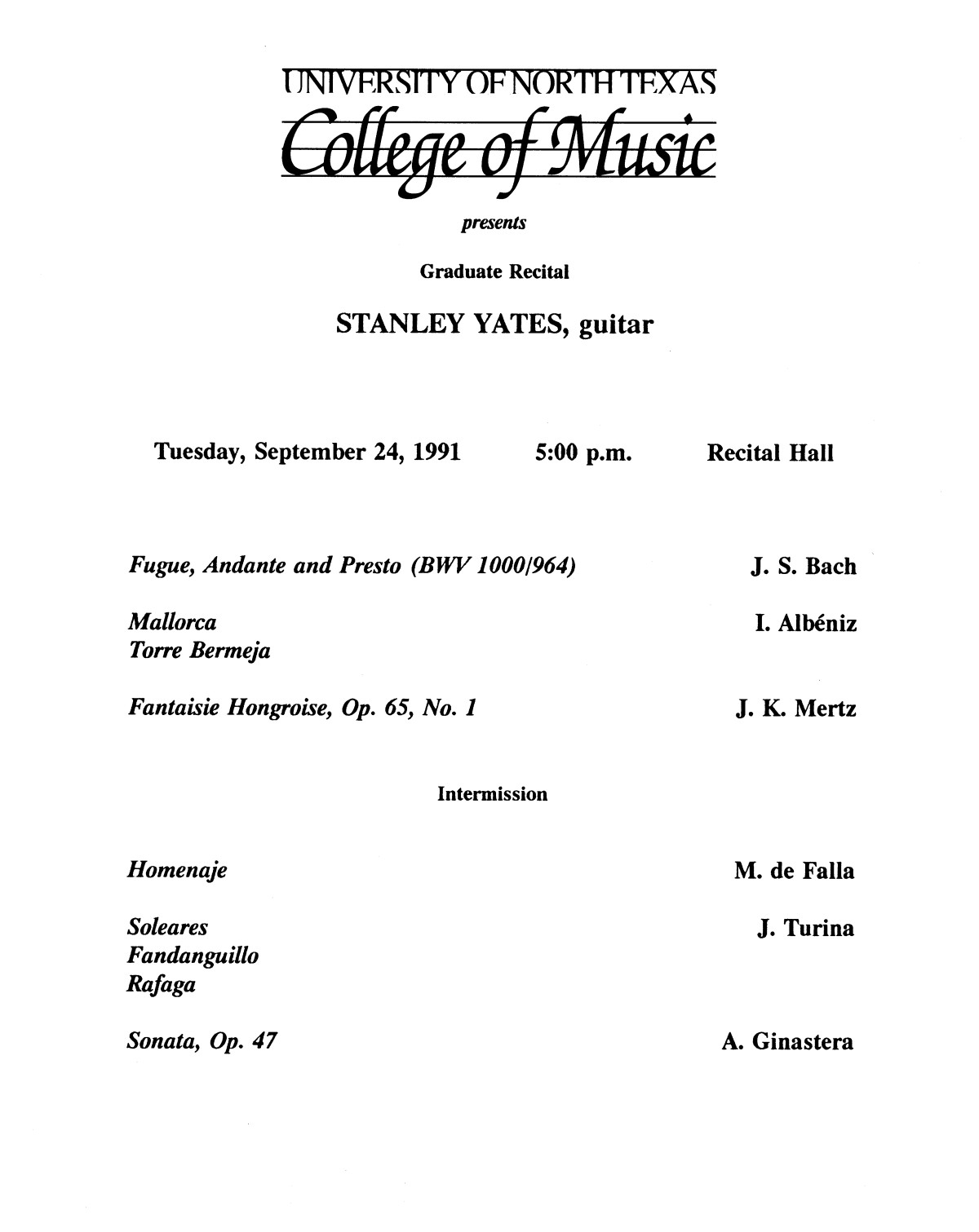College of Music program book 1991-1992 Student Performances Vol. 2                                                                                                      [Sequence #]: 12 of 310
