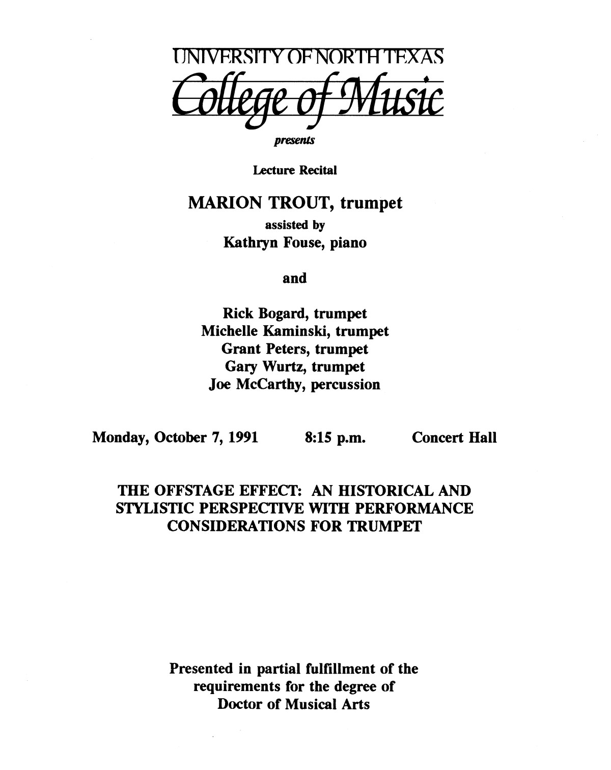 College of Music program book 1991-1992 Student Performances Vol. 2                                                                                                      [Sequence #]: 16 of 310