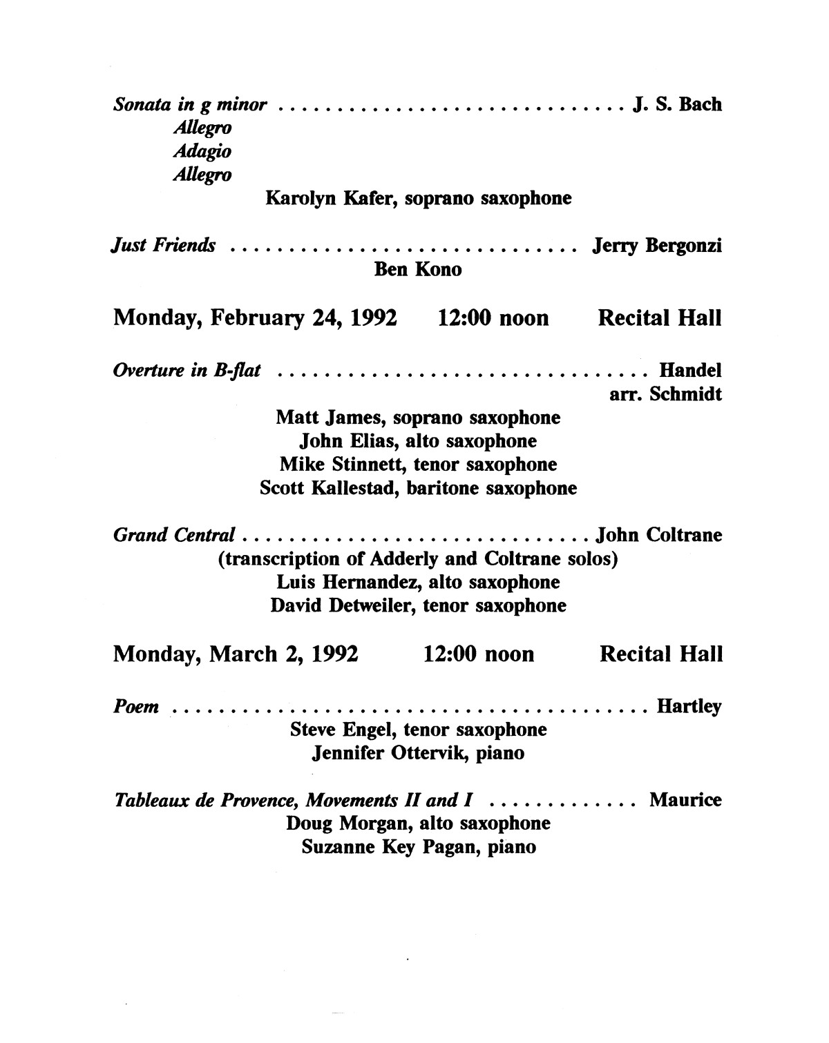College Of Music Program Book 1991 1992 Student Performances Vol 2