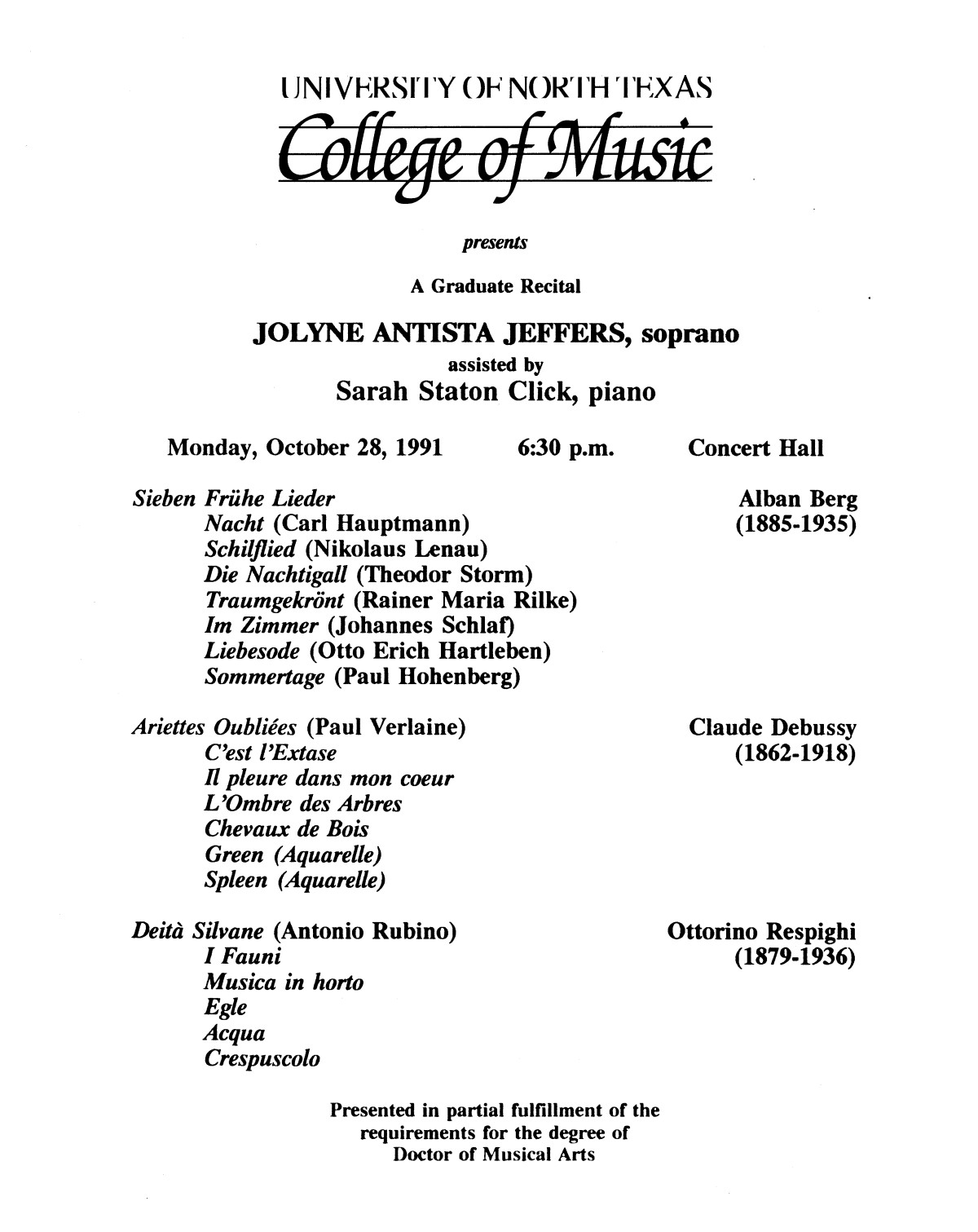 College of Music program book 1991-1992 Student Performances Vol. 2                                                                                                      [Sequence #]: 27 of 310