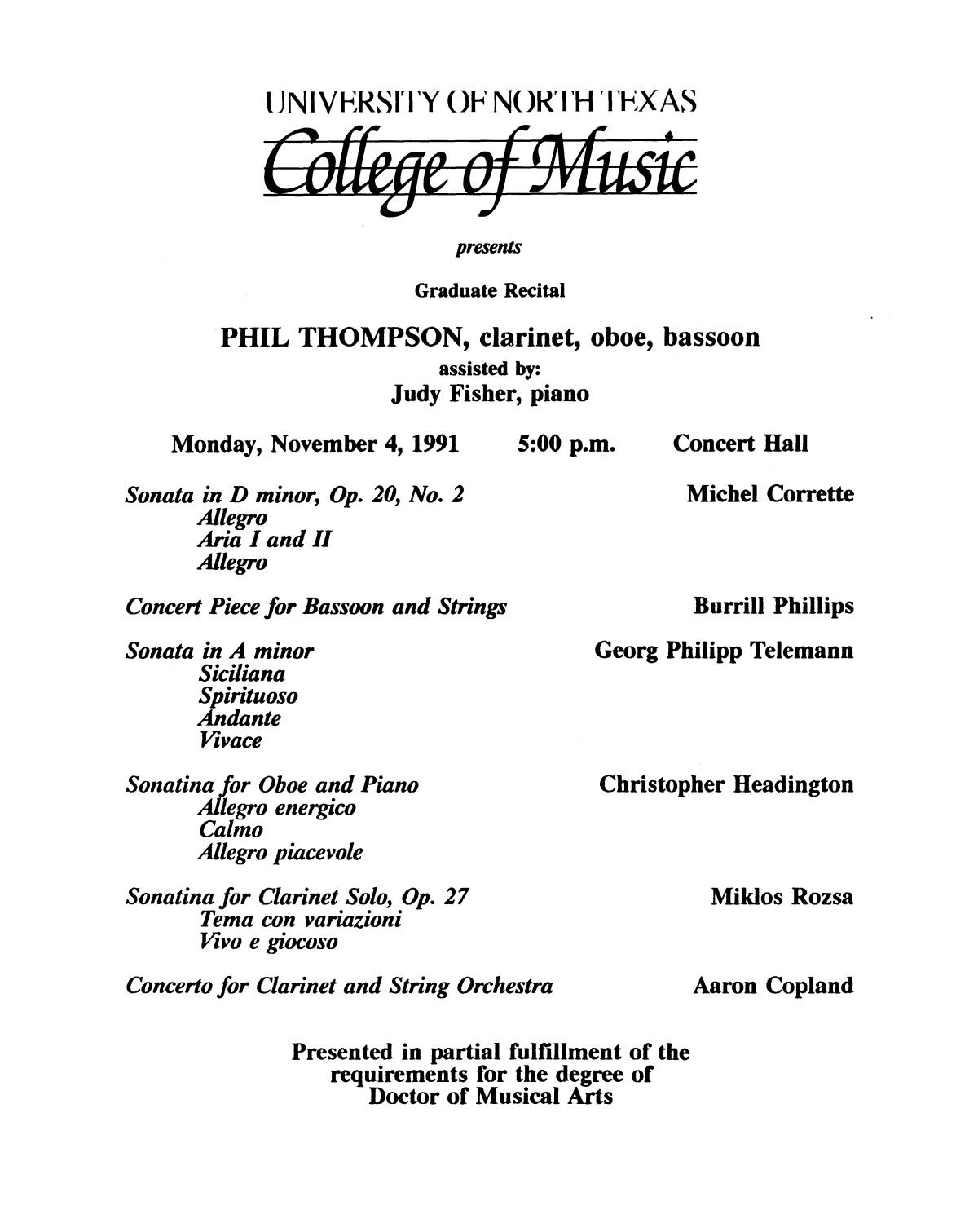 College of Music program book 1991-1992 Student Performances Vol. 2                                                                                                      [Sequence #]: 32 of 310