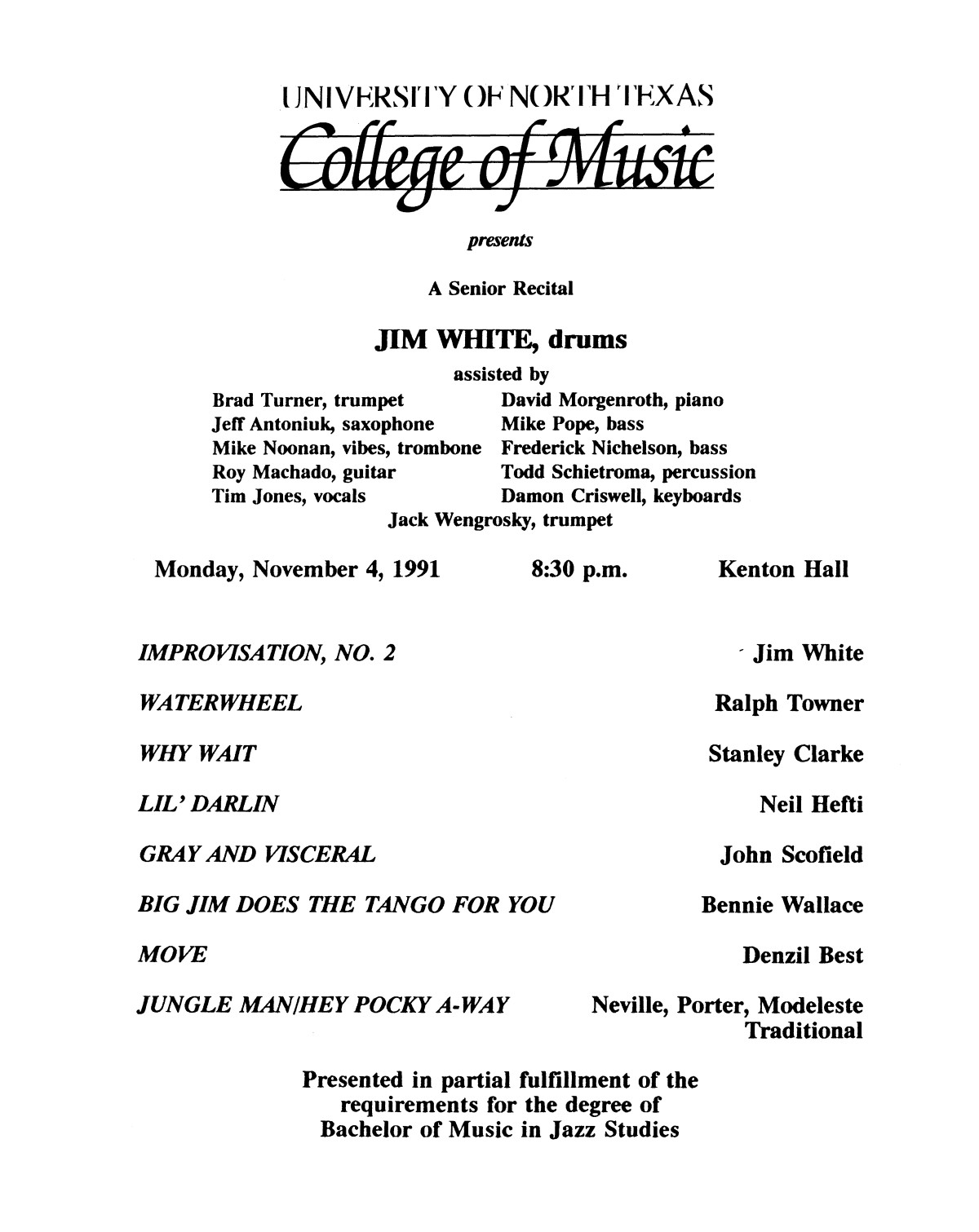 College of Music program book 1991-1992 Student Performances Vol. 2                                                                                                      [Sequence #]: 35 of 310
