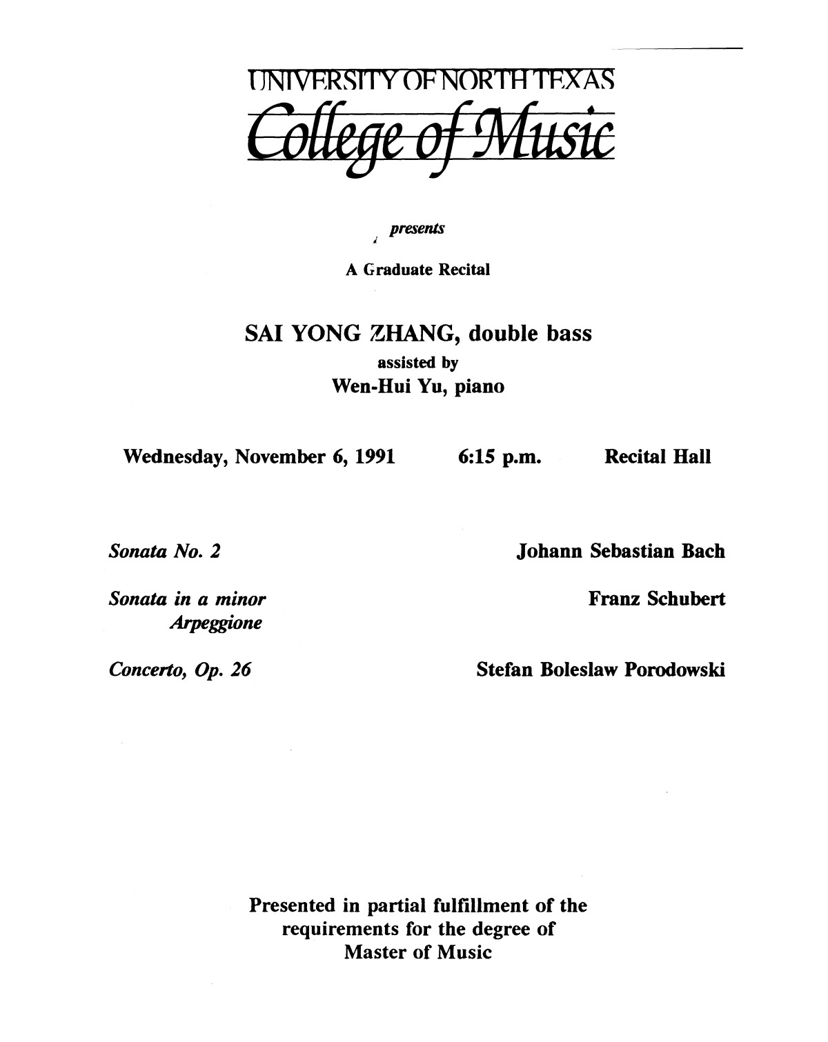 College of Music program book 1991-1992 Student Performances Vol. 2                                                                                                      [Sequence #]: 41 of 310