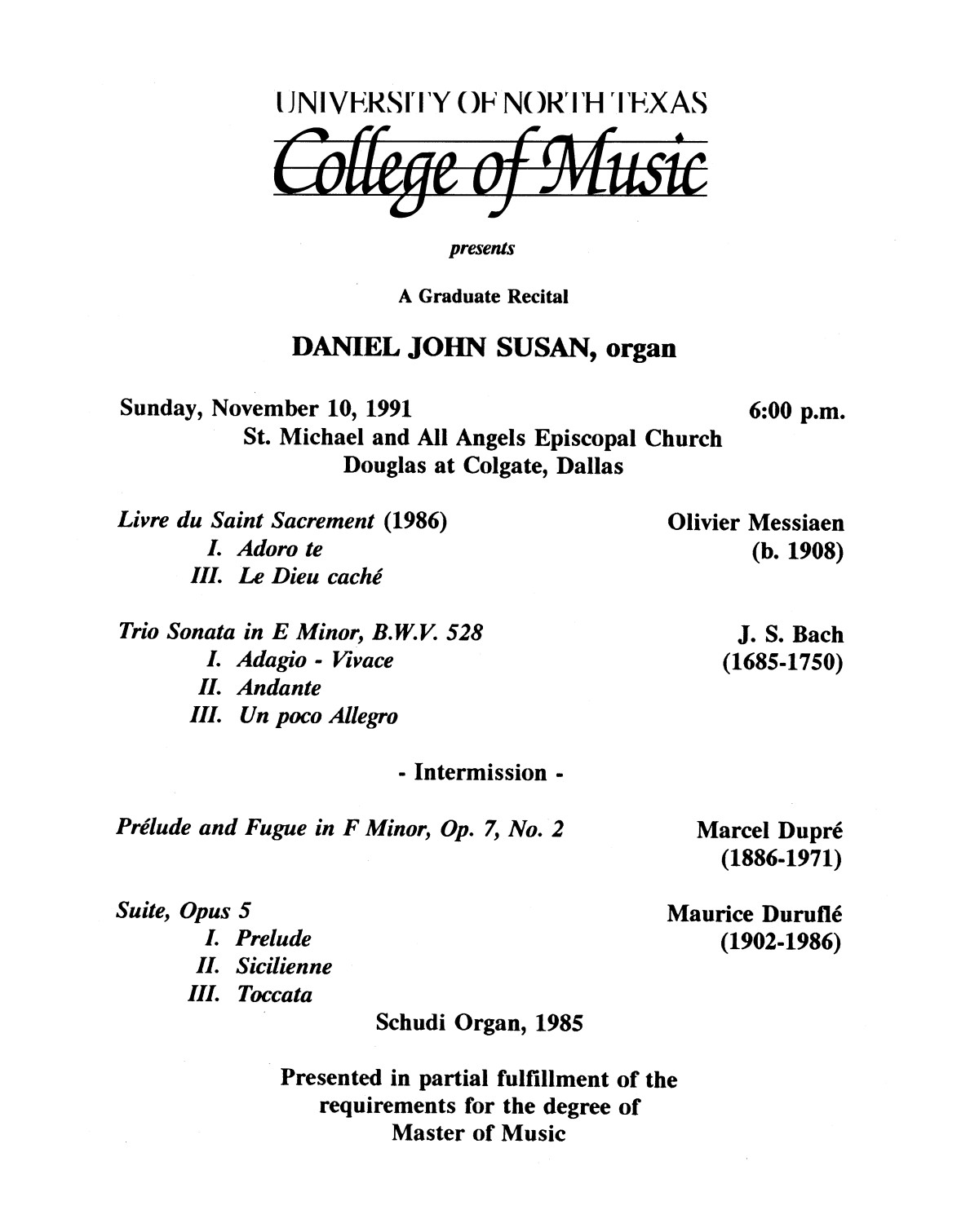 College of Music program book 1991-1992 Student Performances Vol. 2                                                                                                      [Sequence #]: 45 of 310