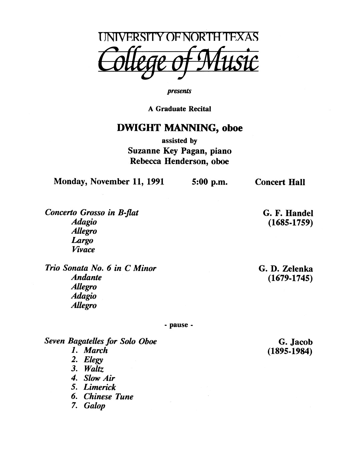 College of Music program book 1991-1992 Student Performances Vol. 2                                                                                                      [Sequence #]: 46 of 310
