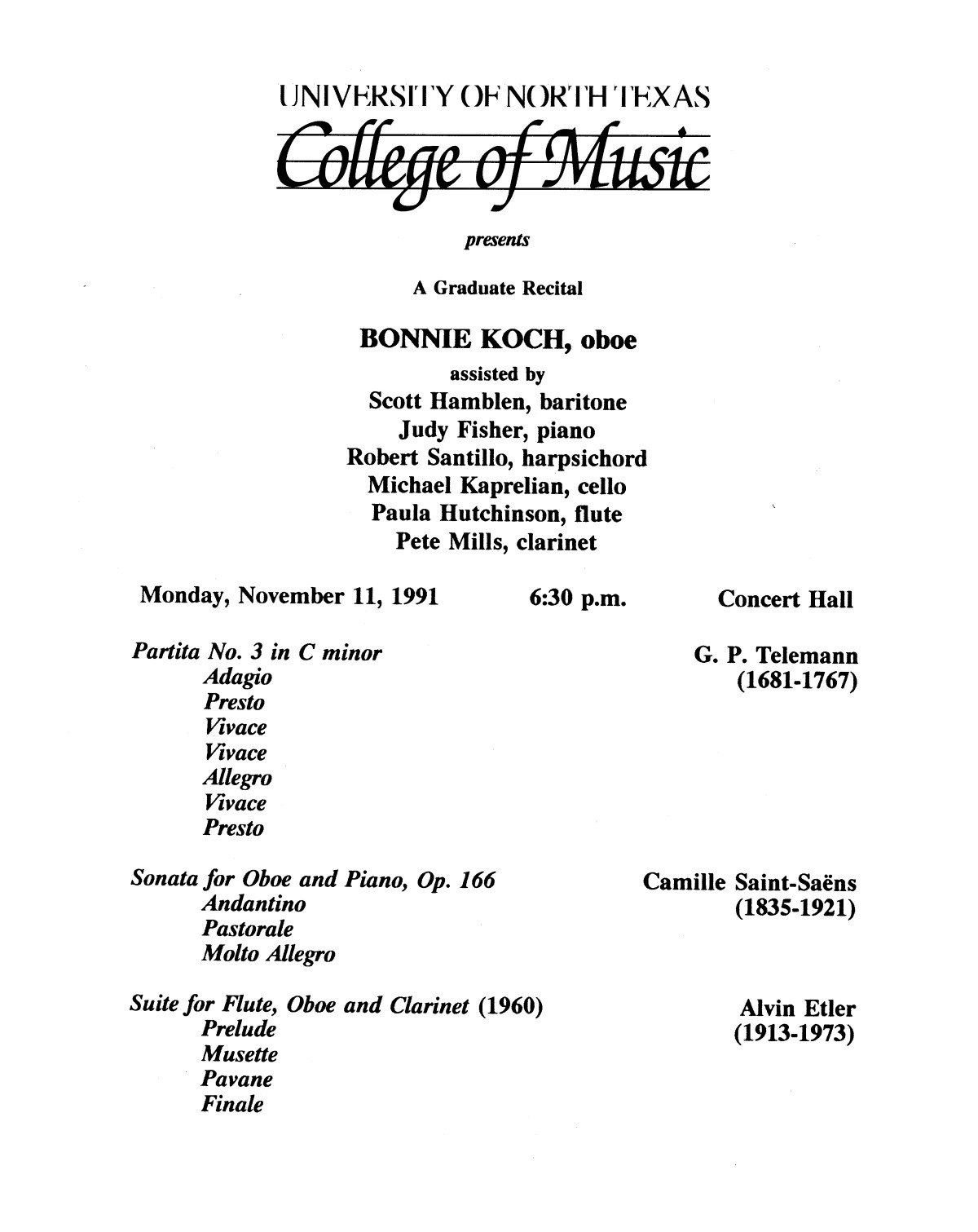 College of Music program book 1991-1992 Student Performances Vol. 2                                                                                                      [Sequence #]: 48 of 310