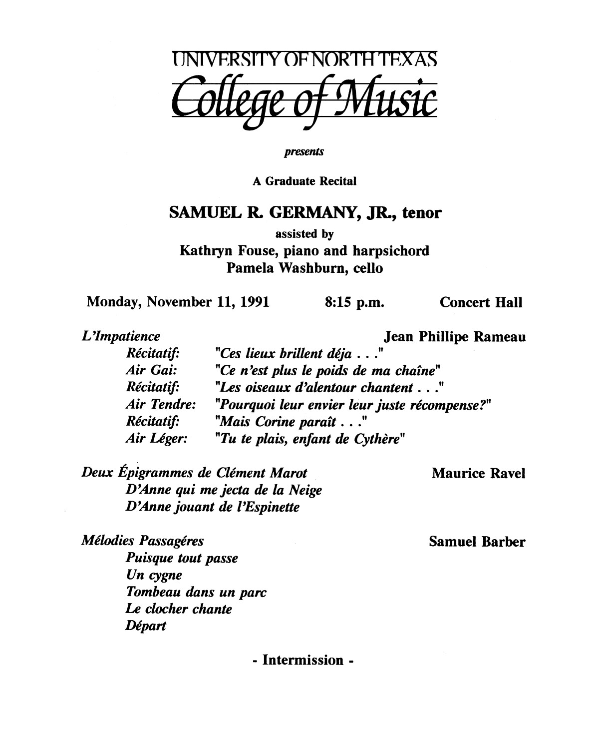 College of Music program book 1991-1992 Student Performances Vol. 2                                                                                                      [Sequence #]: 50 of 310