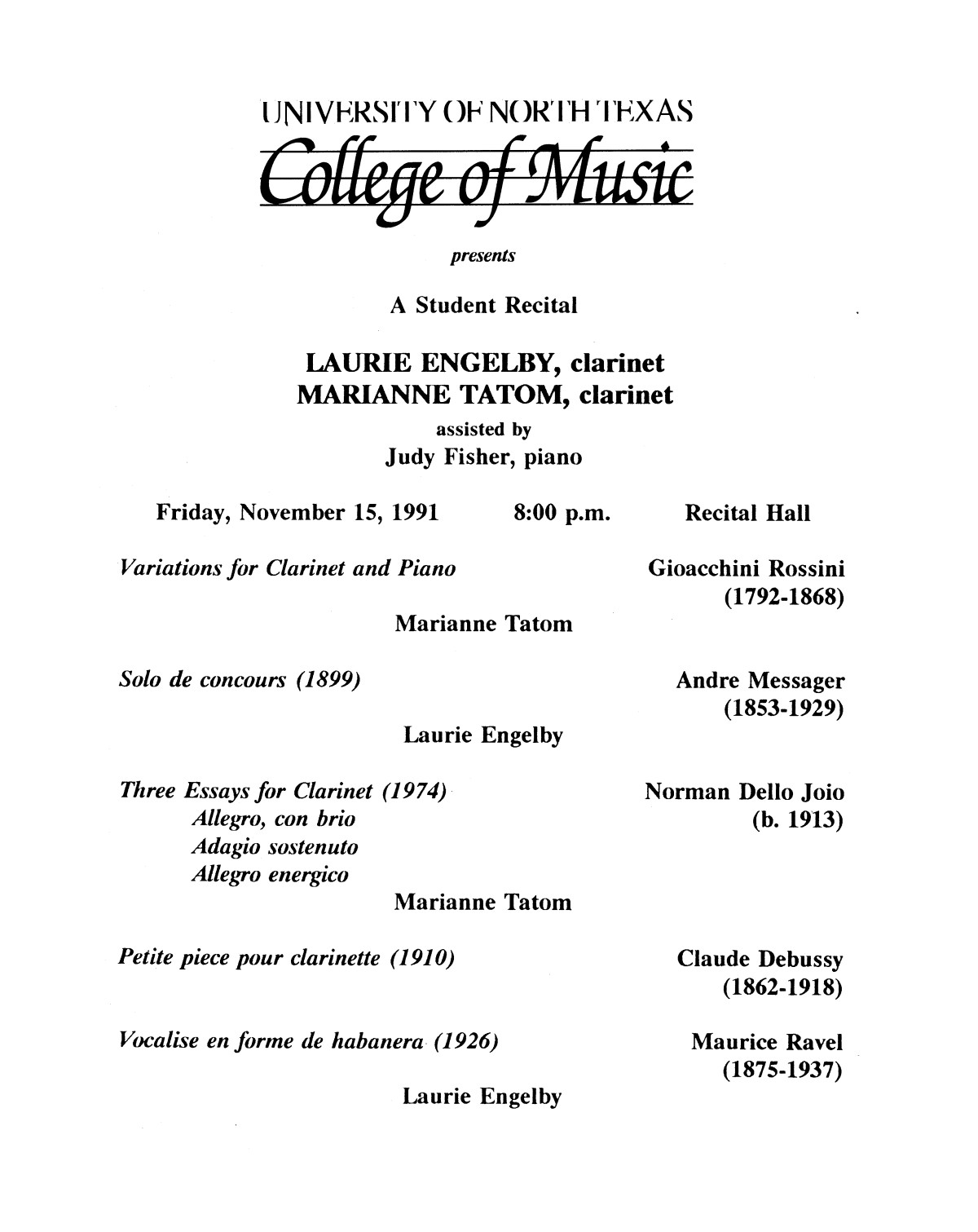 College of Music program book 1991-1992 Student Performances Vol. 2                                                                                                      [Sequence #]: 55 of 310