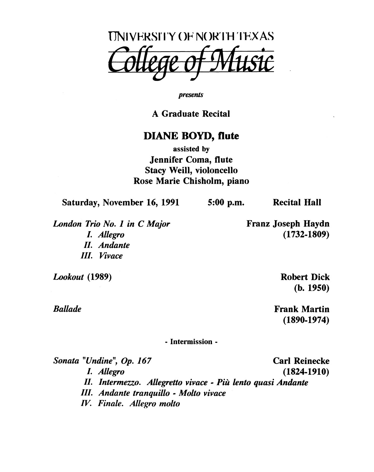 College of Music program book 1991-1992 Student Performances Vol. 2                                                                                                      [Sequence #]: 58 of 310