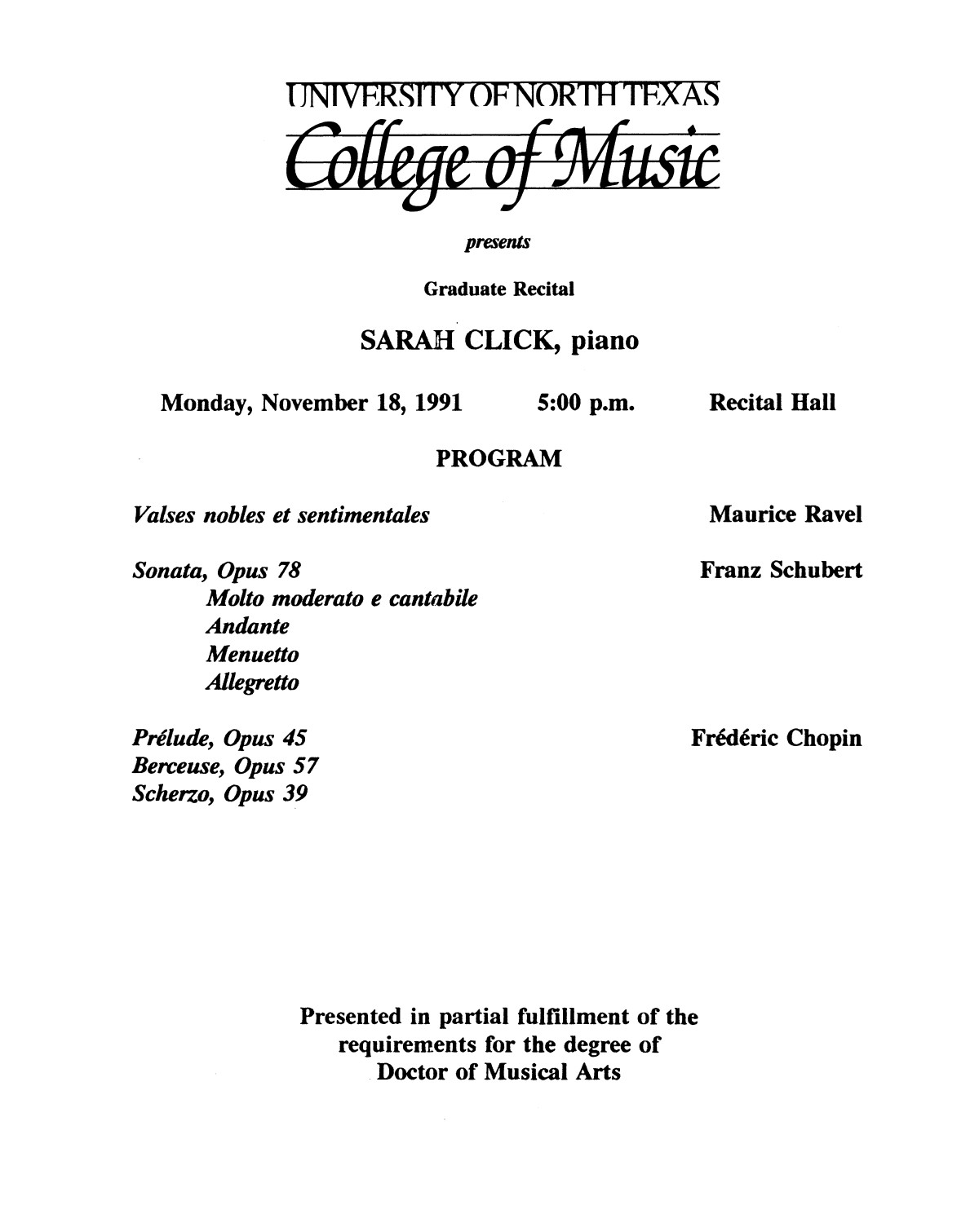 College of Music program book 1991-1992 Student Performances Vol. 2                                                                                                      [Sequence #]: 61 of 310