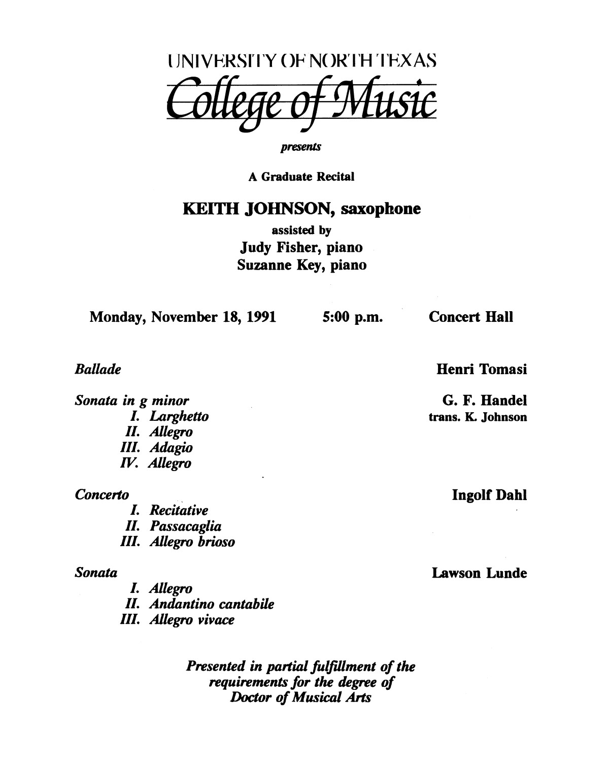 College of Music program book 1991-1992 Student Performances Vol. 2                                                                                                      [Sequence #]: 62 of 310