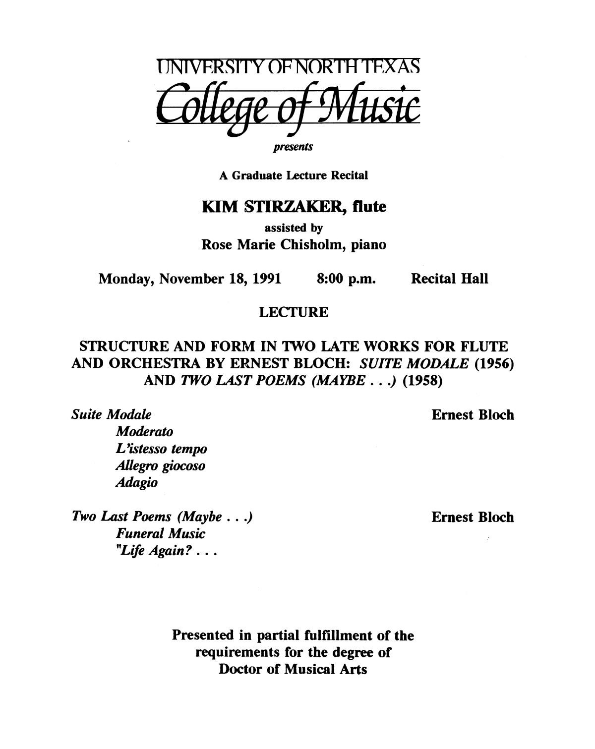 College of Music program book 1991-1992 Student Performances Vol. 2                                                                                                      [Sequence #]: 63 of 310