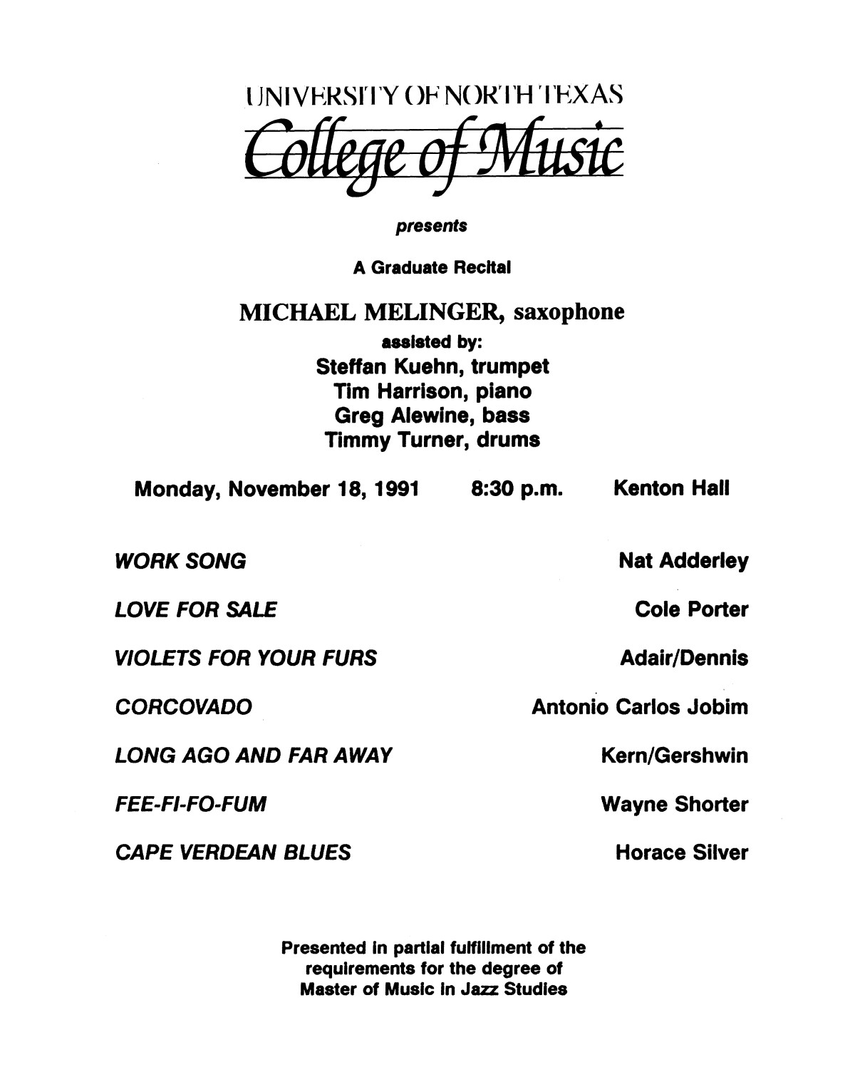 College of Music program book 1991-1992 Student Performances Vol. 2                                                                                                      [Sequence #]: 65 of 310