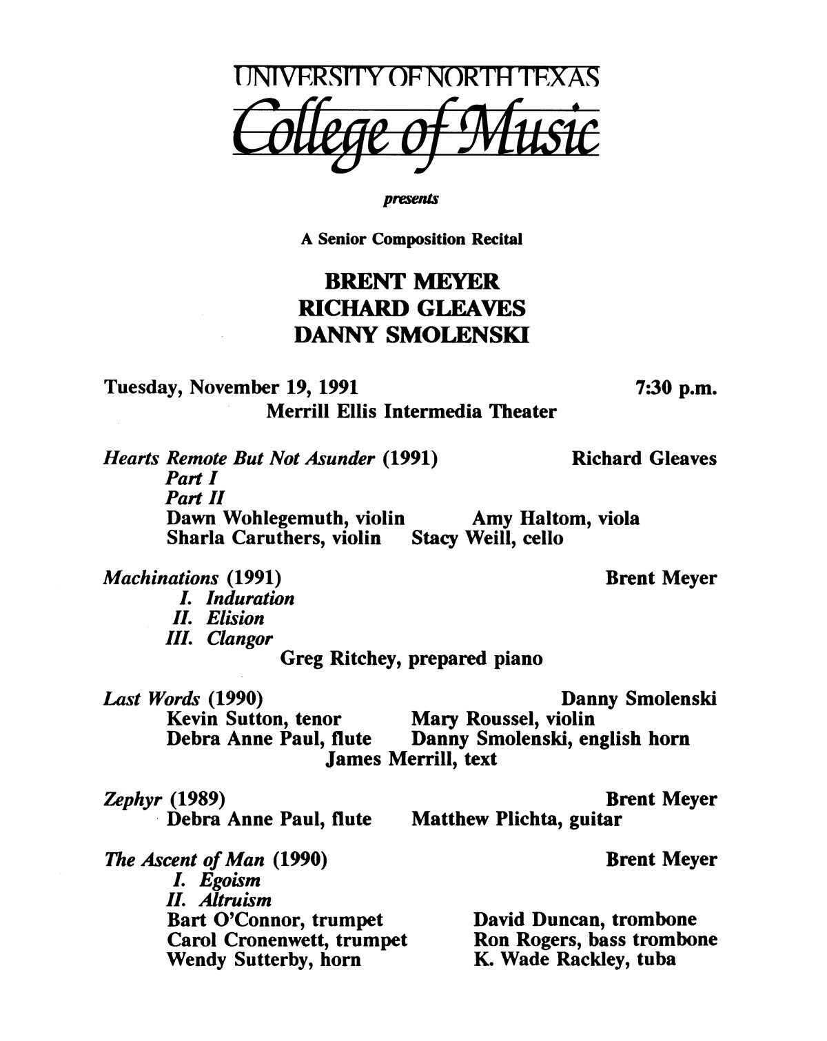 College of Music program book 1991-1992 Student Performances Vol. 2                                                                                                      [Sequence #]: 66 of 310
