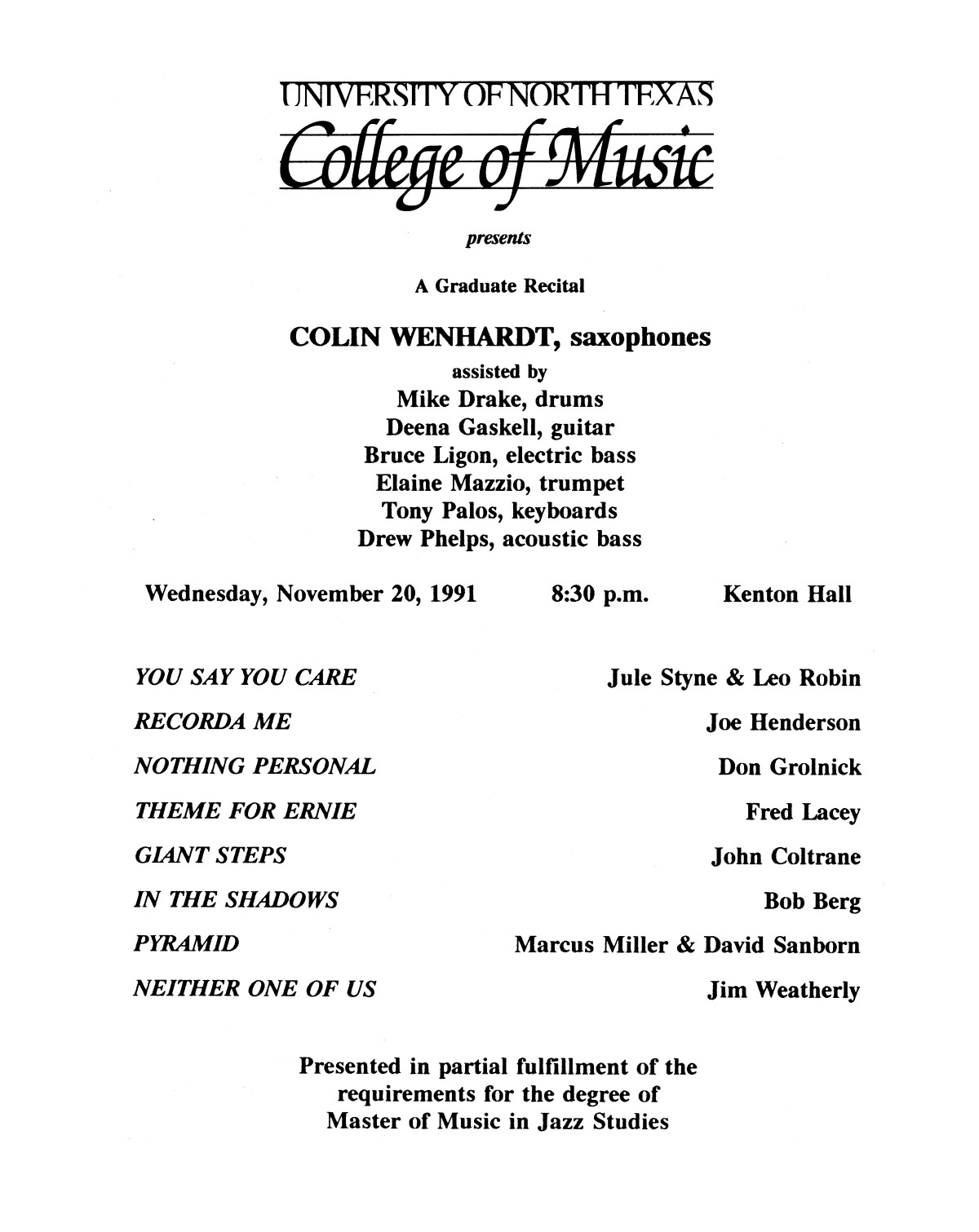 College of Music program book 1991-1992 Student Performances Vol. 2                                                                                                      [Sequence #]: 70 of 310
