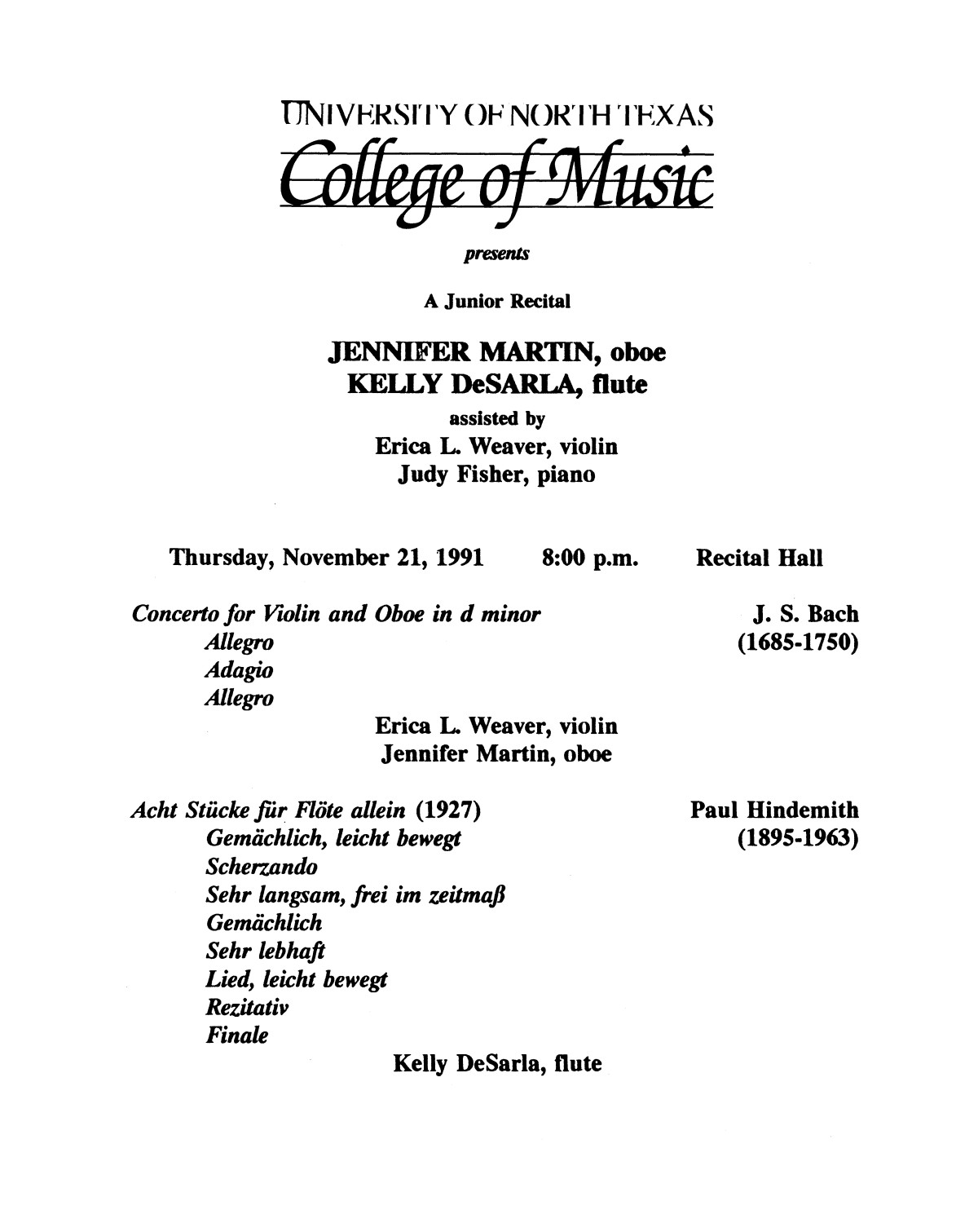 College of Music program book 1991-1992 Student Performances Vol. 2                                                                                                      [Sequence #]: 72 of 310