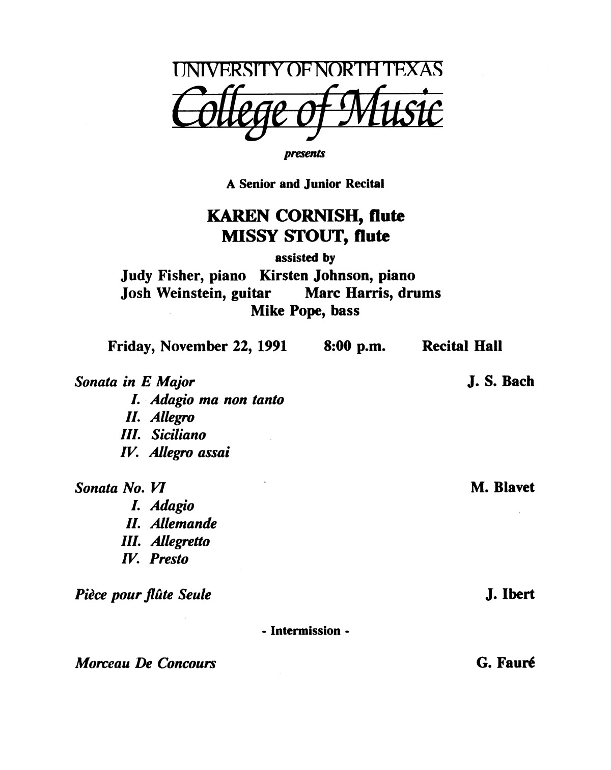 College of Music program book 1991-1992 Student Performances Vol. 2                                                                                                      [Sequence #]: 77 of 310