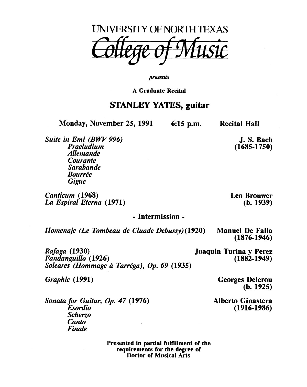 College of Music program book 1991-1992 Student Performances Vol. 2                                                                                                      [Sequence #]: 85 of 310