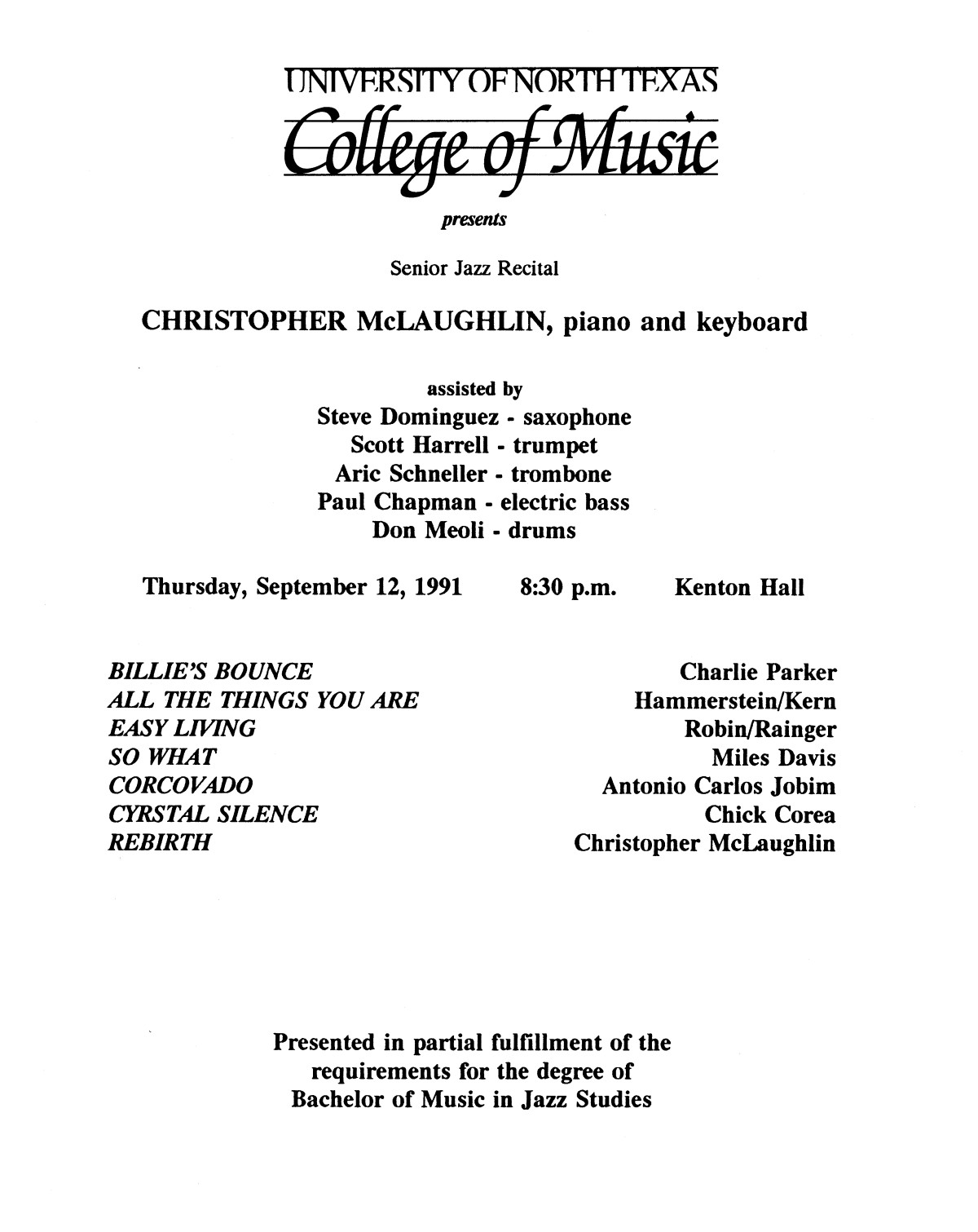 College of Music program book 1991-1992 Student Performances Vol. 2                                                                                                      [Sequence #]: 9 of 310