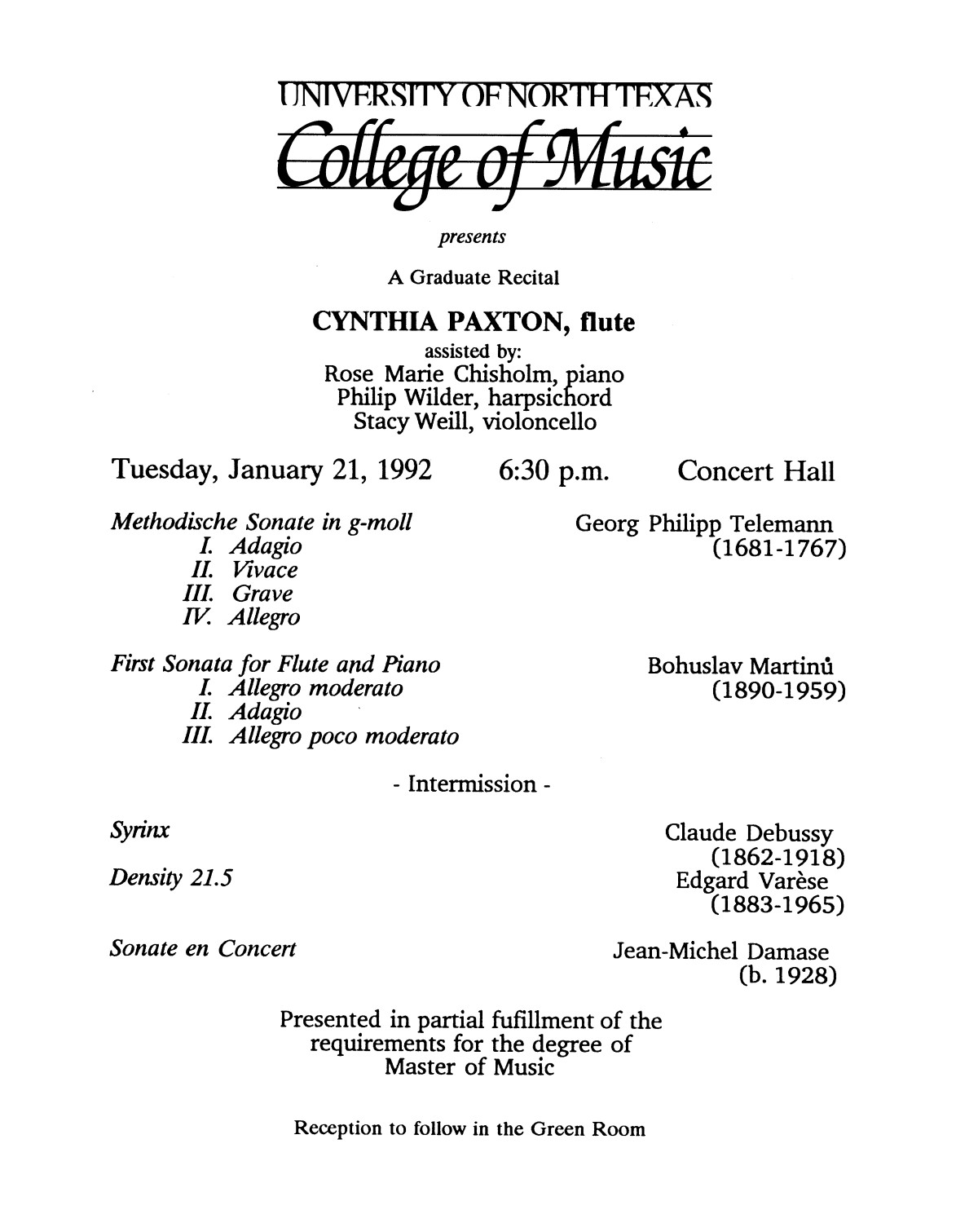 College of Music program book 1991-1992 Student Performances Vol. 2                                                                                                      [Sequence #]: 91 of 310
