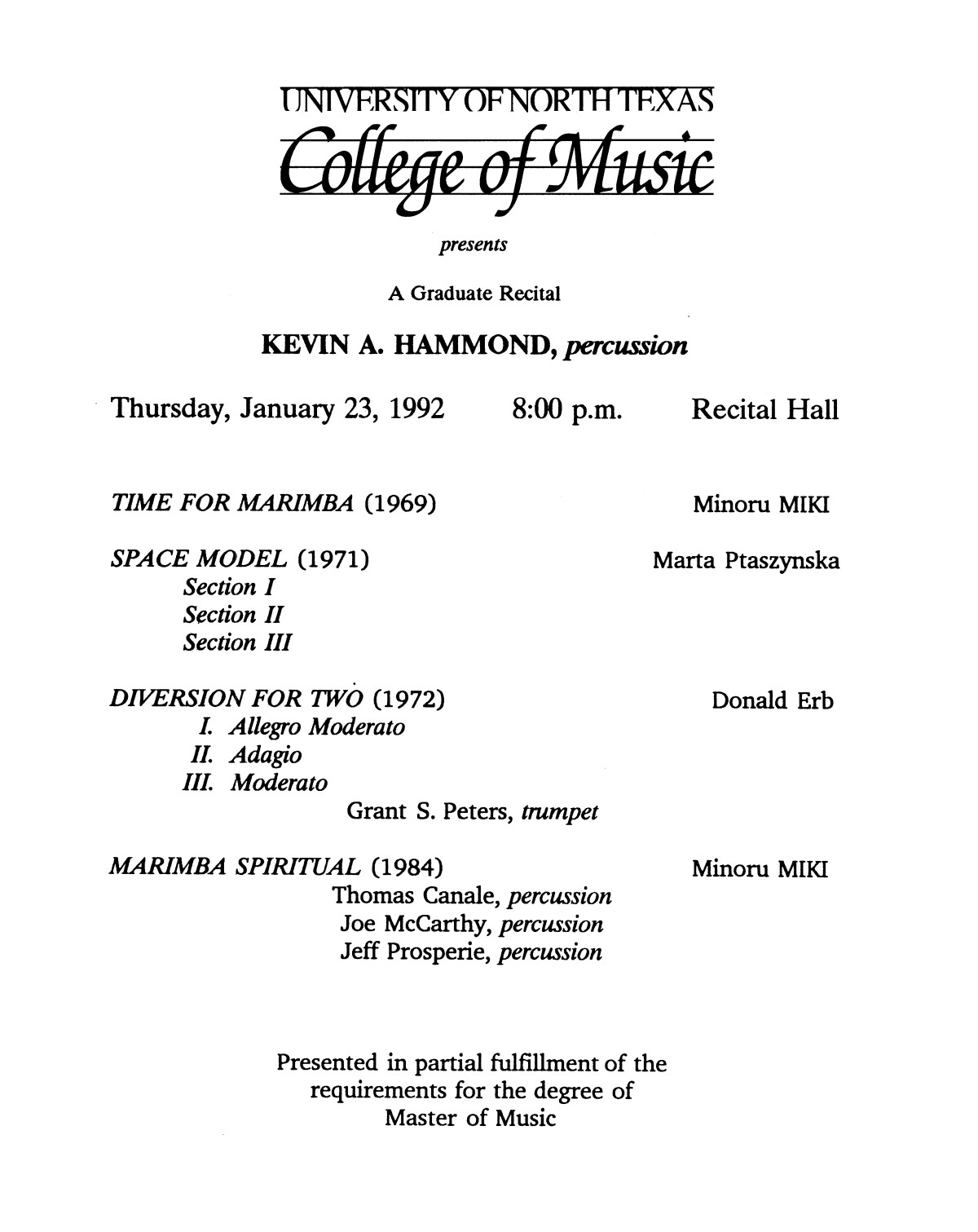 College of Music program book 1991-1992 Student Performances Vol. 2                                                                                                      [Sequence #]: 92 of 310
