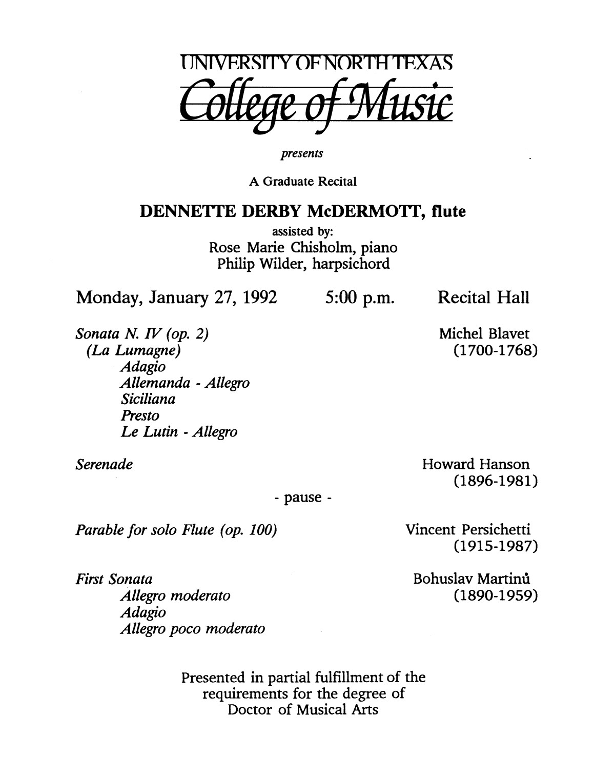 College of Music program book 1991-1992 Student Performances Vol. 2                                                                                                      [Sequence #]: 95 of 310