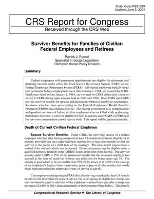 Primary view of object titled 'Survivor Benefits for Families of Civilian Federal Employees and Retirees'.