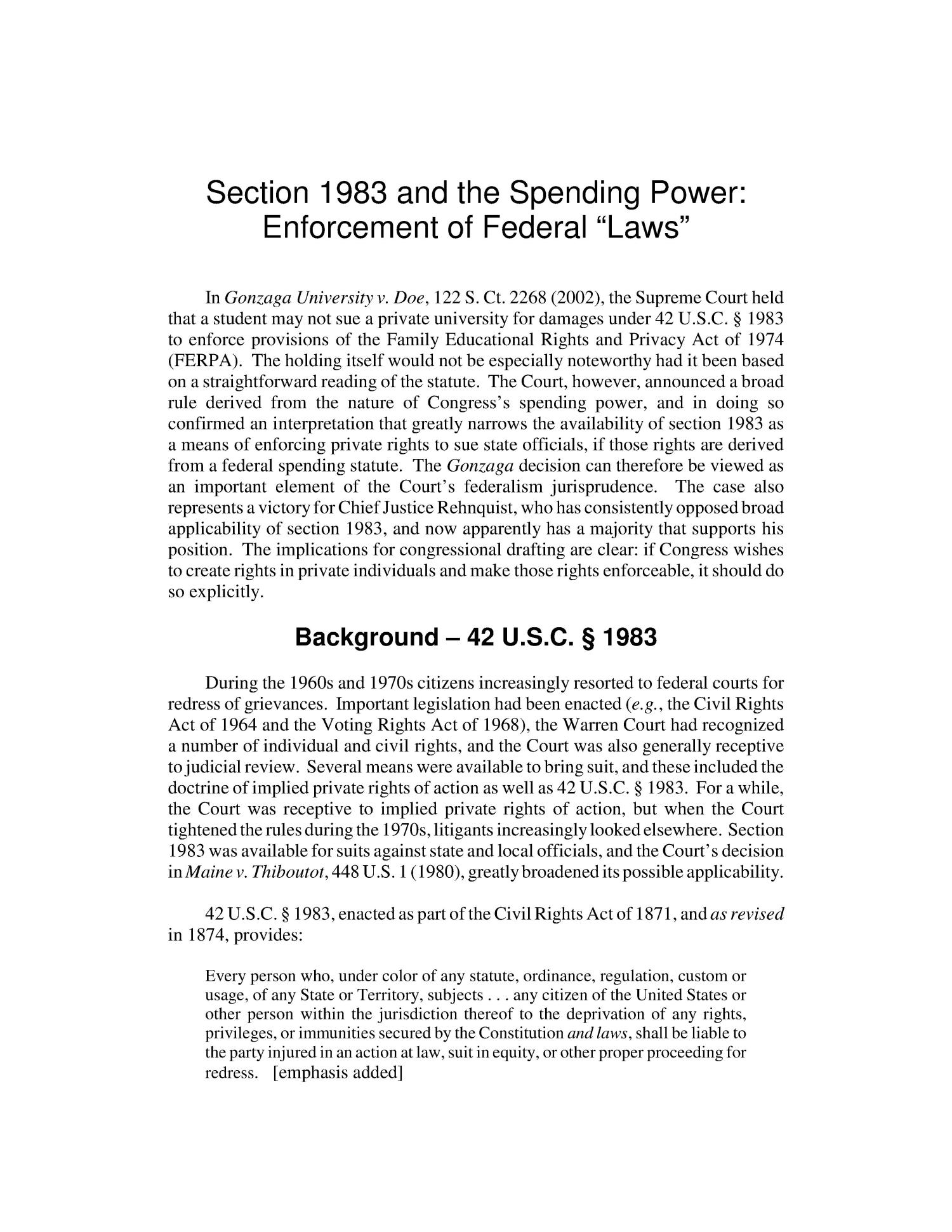 "Section 1983 and the Spending Power: Enforcement of Federal ""Laws""                                                                                                      [Sequence #]: 4 of 13"