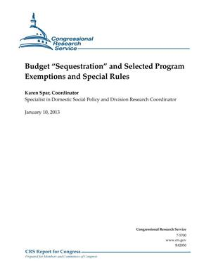"Primary view of object titled 'Budget ""Sequestration"" and Selected Program Exemptions and Special Rules'."