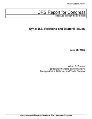 Primary view of object titled 'Syria: U.S. Relations and Bilateral Issues'.
