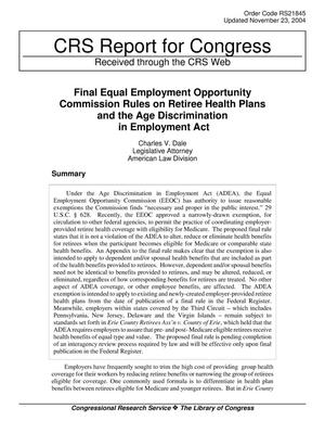 Primary view of object titled 'Final Equal Employment Opportunity Commission Rules on Retiree Health Plans and the Age Discrimination in Employment Act'.