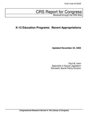 Primary view of object titled 'K-12 Education Programs: Recent Appropriations'.
