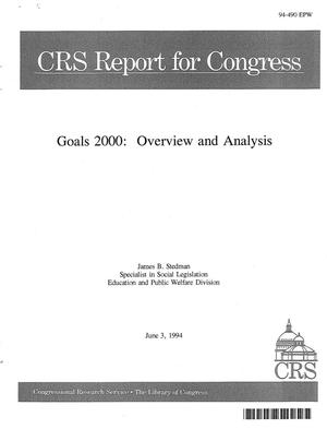 Primary view of object titled 'Goals 2000 : Overview and Analysis'.