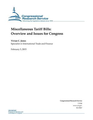 Primary view of object titled 'Miscellaneous Tariff Bills: Overview and Issues for Congress'.