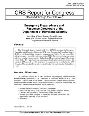 Primary view of Emergency Preparedness and Response Directorate of the Department of Homeland Security