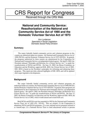 Primary view of object titled 'National and Community Service: Reauthorization of the National and Community Service Act of 1990 and the Domestic Volunteer Service Act of 1973'.