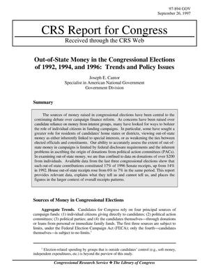 Primary view of object titled 'Out-of-State Money in the Congressional Elections of 1992, 1994, and 1996: Trends and Policy Issues'.